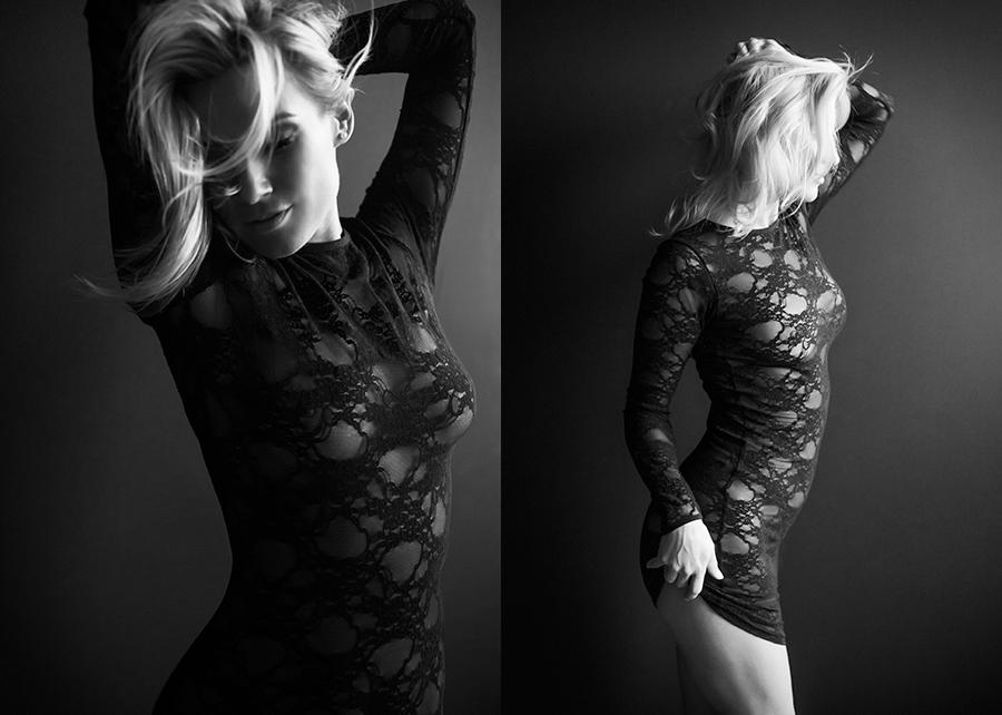 Boudoir photoshoot of beautiful woman in small black dress Canada photo studio