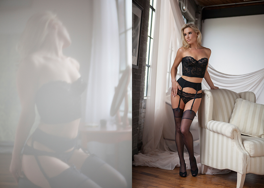 Boudoir photoshoot of beautiful woman in black loungerie and stockings Canada photo studio