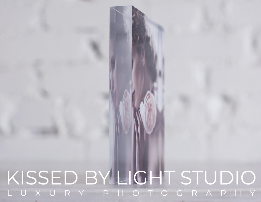 Look from the side on gorgeous table-top thick acrylic block comes printed with your favourite image